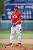 GCL Phillies East relief pitcher Hsin-Chieh Lin (72) looks in for the sign during a game against the GCL Blue Jays on August 10, 2018 at Carpenter Complex in Clearwater, Florida.  GCL Blue Jays defeated GCL Phillies East 8-3.  (Mike Janes/Four Seam Images)