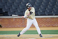 Joey Rodriguez (7) of the Wake Forest Demon Deacons at bat against the Marshall Thundering Herd at Wake Forest Baseball Park on February 17, 2014 in Winston-Salem, North Carolina.  The Demon Deacons defeated the Thundering Herd 4-3.  (Brian Westerholt/Four Seam Images)