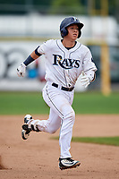 Princeton Rays catcher Roberto Alvarez (13) running the bases during the first game of a doubleheader against the Greeneville Reds on July 25, 2018 at Hunnicutt Field in Princeton, West Virginia.  Princeton defeated Greeneville 6-4.  (Mike Janes/Four Seam Images)