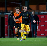 2nd October 2020; Tannadice Park, Dundee, Scotland; Scottish Premiership Football, Dundee United versus Livingston; Scott Pittman of Livingston races away from Logan Chalmers of Dundee United