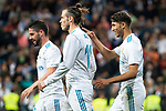 "Real Madrid Achraf Hakimi, Gareth Bale and Francisco Roman ""Isco"" celebrating a goal during La Liga match between Real Madrid and Celta de Vigo at Santiago Bernabeu Stadium in Madrid, Spain. May 12, 2018. (ALTERPHOTOS/Borja B.Hojas)"