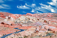 Road through Valley of Fire State Park, Nevada. Sky has been added.