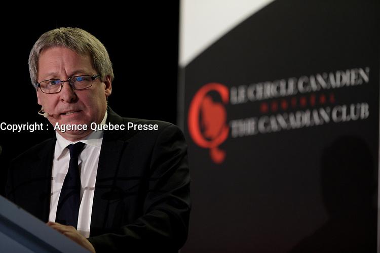 Alain Brunet, President et CEO de la SAQ, a la tribune du Cercle canadien de Montreal, le 20 mars 2017<br /> <br /> <br /> PHOTO : Agence Quebec Presse