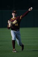 Spencer Van Scoyoc (44) of the Arizona Sun Devils throws in the outfield before a game against the Southern California Trojans at Dedeaux Field on March 24, 2017 in Los Angeles, California. Southern California defeated Arizona State, 5-4. (Larry Goren/Four Seam Images)