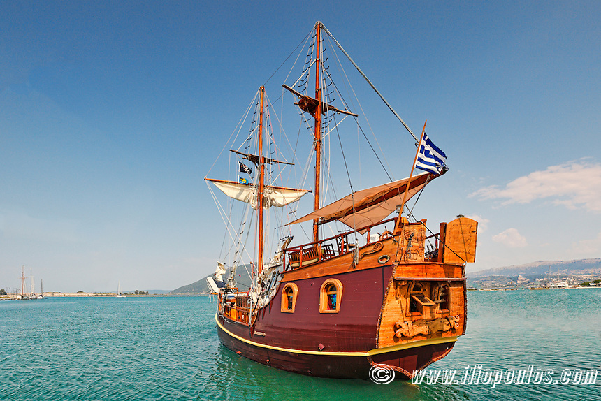 Pirate ship cruise at the port of Lefkada, Greece