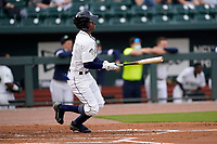 Shortstop Maikel Garcia (8) of the Columbia Fireflies in a game against the Charleston RiverDogs on Tuesday, May 11, 2021, at Segra Park in Columbia, South Carolina. (Tom Priddy/Four Seam Images)