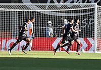 ENVIGADO - COLOMBIA, 18–10-2021: Juan Camilo Salazar de Aguilas Doradas Rionegro celebra con sus compañeros de equipo el segundo gol anotado al Envigado F. C., durante partido entre Envigado F. C. y Aguilas Doradas Rionegro de la fecha 14 por la Liga BetPlay DIMAYOR II 2021 en el estadio Polideportivo Sur de la ciudad de Envigado. / Juan Camilo Salazar of Aguilas Doradas Rionegro celebrates with his teamates the second scored goal to Envigado F. C., during a match between Envigado F. C., and Aguilas Doradas Rionegro of the 14th date for the BetPlay DIMAYOR II League 2021 at the Polideportivo Sur stadium in Envigado city. / Photo: VizzorImage / Luis Benavides / Cont.