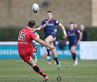 Sam Katz of Jersey Reds converts during the Greene King IPA Championship match between London Scottish Football Club and Jersey at Richmond Athletic Ground, Richmond, United Kingdom on 18 February 2017. Photo by David Horn / PRiME Media Images.