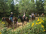Cheley campers on horseback,Cheley Camp, Estes Park, Colorado