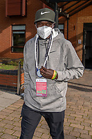 Eliud Kipchoge (KEN) holds his 'Bump' device, a social distancing aid, after returning from the COVID-19 testing area after arriving at the official hotel [location not disclosed] and entering the biosecure bubble for the historic elite-only 2020 Virgin Money London Marathon on Sunday 4 October. The 40th Race will take place on a closed-loop circuit around St James's Park in central London. Monday 28th September 2020. Photo: Bob Martin for London Marathon Events<br /> <br /> For further information: media@londonmarathonevents.co.uk