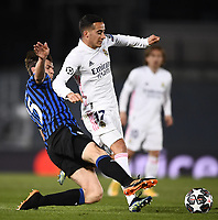 16th March 2021; Madrid, Spain; during the Champions League match, round of 16, between Real Madrid and Atalanta; Lucas Vazquez challenges Marten de Roon
