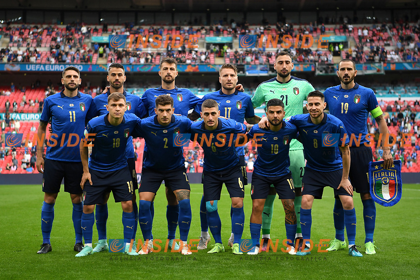 LONDON, ENGLAND - JUNE 26: Players of Italy pose for a team photograph prior to the UEFA Euro 2020 Championship Round of 16 match between Italy and Austria at Wembley Stadium at Wembley Stadium on June 26, 2021 in London, England. (Photo by Shaun Botterill - UEFA/UEFA via Getty Images)<br /> Photo Uefa/Insidefoto ITA ONLY