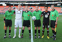 DC United forward Jaime Moreno (99) and Real Salt Lake defender Nat Borchers (6) at the coin toss.  DC United defeated Real Salt Lake 2-1 to advance to the round of 16 of the  U.S. Open Cup at RFK Stadium, Wednesday  June 2  2010.