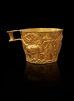Vapheio type Mycenaean gold cup depicting a wild bull hunt , Vapheio Tholos Tomb, Lakonia, Greece. National Archaeological Museum of Athens.  Black Background<br /> <br />  Two masterpieces of Creto - Mycenaean gold metalwork were excavated from a tholos tomb near Lakonia in Sparta in 1988. Made in the 15th century BC, the gold cups are heavily influenced by the Minoan style that was predominant in the Agean at the time. The bull hunt was popular with  Mycenaean  and Minoan artists and symolised power and fertility. The distinctive shape of the cup is kown as 'Vapheio type'.