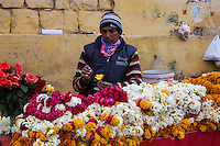 Jaipur, Rajasthan, India.  Vendor of Flower Garlands for a Nearby Temple.
