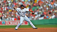 9 June 2012: Boston Red Sox shortstop Mike Aviles in action against the visiting Washington Nationals at Fenway Park in Boston, MA. The Nationals defeated the Red Sox 4-2 in the second game of their 3-game series. Mandatory Credit: Ed Wolfstein Photo