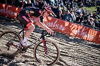 Laurens Sweeck (BEL/Pauwels Sauzen - Bingoal) diving into the infamous Zonhoven 'Pit' at full speed<br /> <br /> Elite Men's Race<br /> 2021 UCI cyclo-cross World Cup - Zonhoven (BEL)<br /> <br /> ©kramon