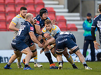 27th December 2020; AJ Bell Stadium, Salford, Lancashire, England; English Premiership Rugby, Sale Sharks versus Wasps; Tom Curry of Sale Sharks tackles Will Rowlands of Wasps