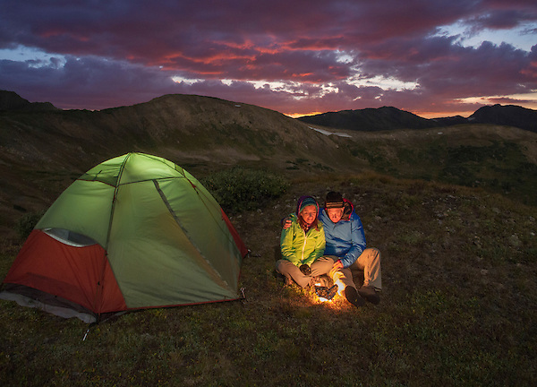 Couple backpacking and camping above Loveland Pass, Colorado.
