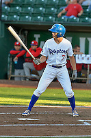 Gavin Lux (7) of the Ogden Raptors at bat against the Orem Owlz in Pioneer League action at Lindquist Field on September 9, 2016 in Ogden, Utah. This was Game 1 of the Southern Division playoff. Orem defeated Ogden 6-5. (Stephen Smith/Four Seam Images)