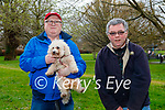 Enjoying a stroll in the Tralee town park on Monday, l to r: Alan Cotter and Tim Moynihan with Pixie the dog.