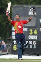 Owais Shah of Essex celebrates a century, 100 runs - Essex Eagles vs Gloucestershire Gladiators - Clydesdale Bank CB40 Cricket at Castle Park, Colchester - 21/08/11 - MANDATORY CREDIT: Gavin Ellis/TGSPHOTO - Self billing applies where appropriate - Tel: 0845 094 6026