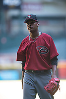 Arizona Diamondbacks relief pitcher Elvis Luciano (32) walks to the dugout between innings of an Instructional League game against the Kansas City Royals at Chase Field on October 14, 2017 in Phoenix, Arizona. (Zachary Lucy/Four Seam Images)