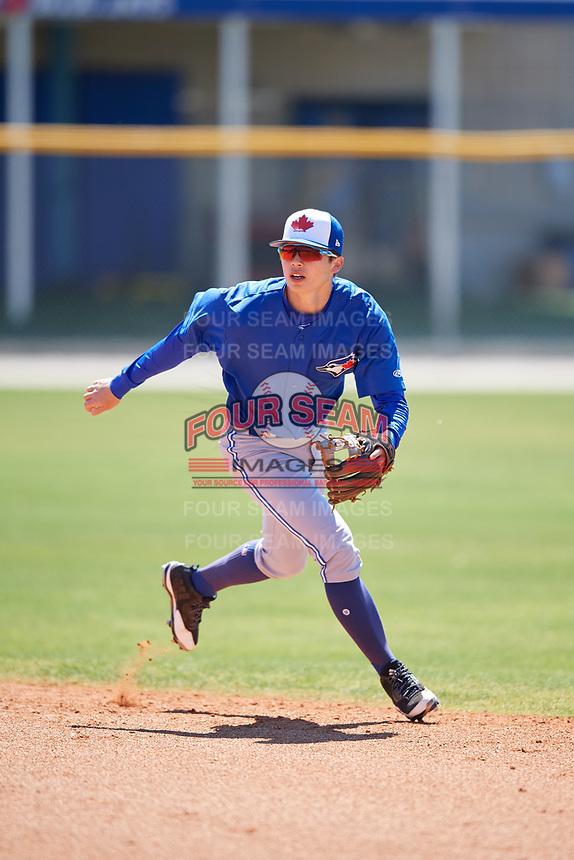 Toronto Blue Jays Will Savage (77) during a Minor League Spring Training Intrasquad game on March 14, 2018 at Englebert Complex in Dunedin, Florida.  (Mike Janes/Four Seam Images)