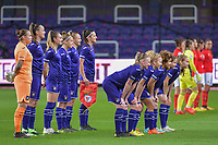 Teampicture Anderlecht ( goalkeeper Justine Odeurs (13) , midfielder Tine De Caigny (6) , forward Tessa Wullaert (27) , defender Laura Deloose (14) , forward Sarah Wijnants (11) , defender Laura De Neve (8) and defender Silke Leynen (17) , midfielder Charlotte Tisson (20) , midfielder Kassandra Missipo (12) , midfielder Stefania Vatafu (10) , forward Jarne Teulings (16) ) before a female soccer game between RSC Anderlecht Dames and Portugese Benfica Ladies  in the second qualifying round for the Uefa Womens Champions League of the 2020 - 2021 season , Wednesday 18 th of November 2020  in ANDERLECHT , Belgium . PHOTO SPORTPIX.BE | SPP | STIJN AUDOOREN