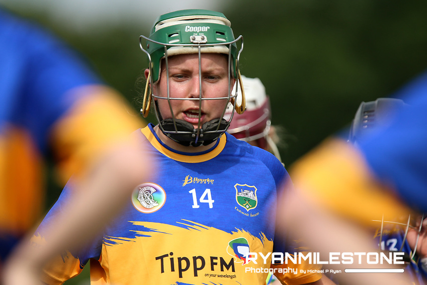 Tipperary's Cait Devane speaks to the players ahead of the Liberty Insurance All Ireland Senior Camogie Championship Round 1 between Tipperary and Meath at the Ragg, Co Tipperary. Photo By Michael P Ryan.