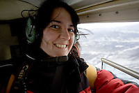 Christiane Kappes in Kanada, Yukon im Hubschrauber