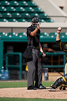 Home plate umpire Nathan Diederich calls a strike during a Florida Instructional League game between the Pittsburgh Pirates and the Detroit Tigers on October 6, 2018 at Joker Marchant Stadium in Lakeland, Florida.  (Mike Janes/Four Seam Images)