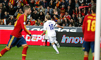 Finland's Pukki celebrates goal during international match of the qualifiers for the FIFA World Cup Brazil 2014.March 22,2013.(ALTERPHOTOS/Victor Blanco)