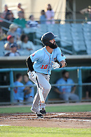 Jordan Serena (10) of the Inland Empire 66ers bats during a game against the Lancaster JetHawks at The Hanger on September 3, 2017 in Lancaster, California. Lancaster defeated Inland Empire, 5-4. (Larry Goren/Four Seam Images)