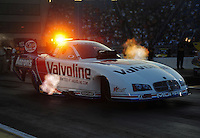 Jul, 8, 2011; Joliet, IL, USA: NHRA funny car driver Jack Beckman during qualifying for the Route 66 Nationals at Route 66 Raceway. Mandatory Credit: Mark J. Rebilas-