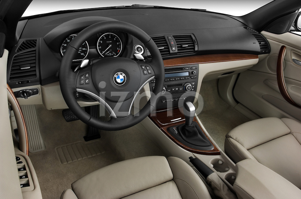 High angle dashboard view of a 2007 - 2011 BMW 1-Series 128i convertible.