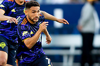 CARSON, CA - JUNE 19: Cristian Roldan #7 of the Seattle Sounders FC moves towards the box during a game between Seattle Sounders FC and Los Angeles Galaxy at Dignity Health Sports Park on June 19, 2021 in Carson, California.