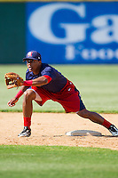 Wilmer Difo (6) of the Hagerstown Suns waits for a throw at second base during infield practice prior to the game against the Hickory Crawdads at L.P. Frans Stadium on May 7, 2014 in Hickory, North Carolina.  The Suns defeated the Crawdads 4-2.  (Brian Westerholt/Four Seam Images)