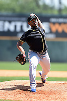 Omaha Storm Chasers pitcher Francisley Bueno (21) delivers a pitch during a game against the Nashville Sounds on May 20, 2014 at Herschel Greer Stadium in Nashville, Tennessee.  Omaha defeated Nashville 4-1.  (Mike Janes/Four Seam Images)