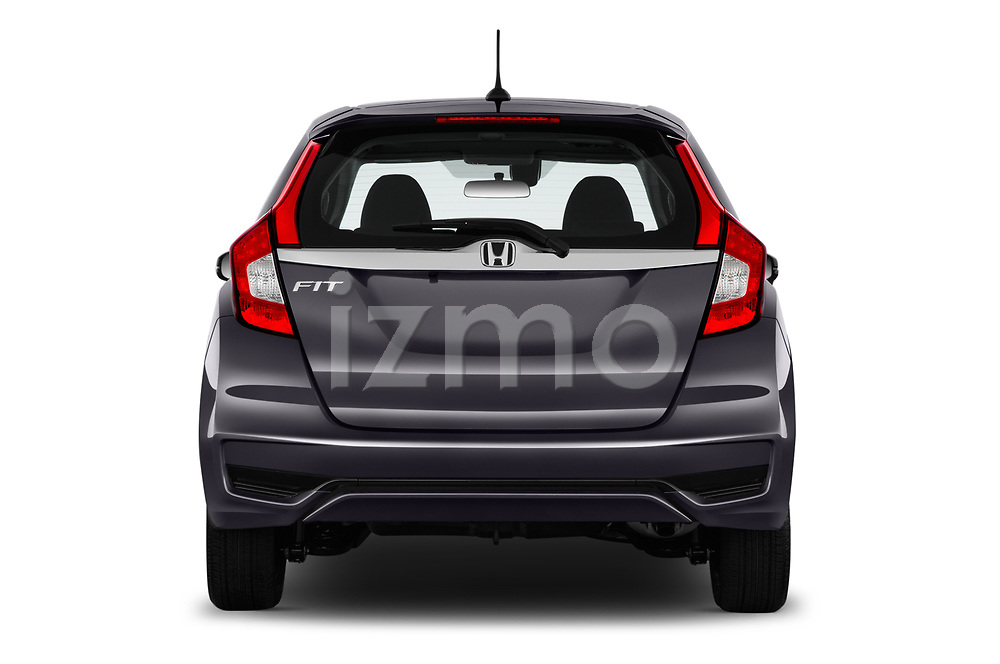 Straight rear view of a 2018 Honda Fit EX CVT 5 Door Hatchback stock images