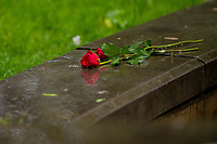 Monday 05 June 2017<br /> Pictured: Roses left as a mark of respect <br /> Re: A vigil has been held in Swansea City Centre to remember the victims of the recent terror attack in London. Stand up to Racism Swansea have organised the event alongside Swansea Coalition Against War and Swansea People's Assembly.