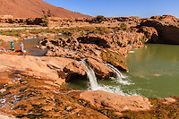 Africa,Morocco,Tissint, desert oasis with village women washing into the river