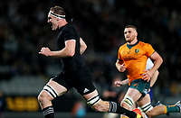 NZ's Brodie Retallick heads for the tryline during the Bledisloe Cup rugby match between the New Zealand All Blacks and Australia Wallabies at Eden Park in Auckland, New Zealand on Saturday, 14 August 2021. Photo: Simon Watts / lintottphoto.co.nz / bwmedia.co.nz
