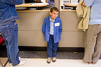 Colt Stillwell at the Children's Hospital during the Share and Care Network's annual retreat held at the Doubletree Guest Suites Hotel in Boston on May 20, 2006. <br /> <br /> The Share and Care Network was created in 1981 by Pat Cahill when her son Scott was diagnosed with Cockayne Syndrome.  A rare form of dwarfism, Cockayne Syndrome is a genetically determined condition whose symptoms include microcephaly, mental retardation, progressive blindness, progressive hearing loss, premature aging, and a shortened lifespan averaging 18 years.  Those afflicted have distinctive facial features, including sunken eyes, pinched faces, and protruding jaws as well as distinctive gregarious, affectionate personalities.<br /> <br /> Because of the rarity of the condition (1/1,000 live births) and its late onset (characteristics usually begin to appear only after one year), many families and physicians are often baffled by children whose health begins to deteriorate after normal development.  It was partly with this in mind that the Share and Care Network was formed, to promote awareness of this disease as well as to provide a support network for those families affected.  In 1998 it began organizing an annual retreat, which has grown from three families in its inaugural year to more than 30 today.  Although the retreat takes place in the United States, families from as far as Japan arrive for this one weekend out of the year to share information and to support one another.