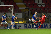 Sam Ling of Leyton Orient shoots at goal during the EFL Trophy behind closed doors match between Leyton Orient and Brighton & Hove Albion Under 21s at the Matchroom Stadium, London, England played without supporters able to attend due to ongoing covid-19 government guidelines on 8 September 2020. Photo by Vince  Mignott.