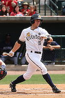 Rob Lyerly #16  of the Charleston RiverDogs at bat during a game against the Rome Braves on April 27, 2010 in Charleston, SC.