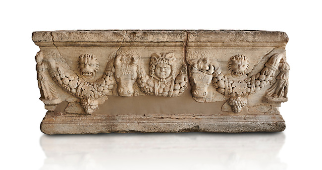 Roman relief sculpted garland sarcophagus, 3rd century AD. Adana Archaeology Museum, Turkey. Against a white background