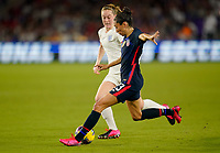 ORLANDO, FL - MARCH 05: Christen Press #23 of the United States takes a shot on goal during a game between England and USWNT at Exploria Stadium on March 05, 2020 in Orlando, Florida.