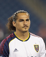 Real Salt Lake forward Devon Sandoval (49). In a Major League Soccer (MLS) match, Real Salt Lake (white)defeated the New England Revolution (blue), 2-1, at Gillette Stadium on May 8, 2013.