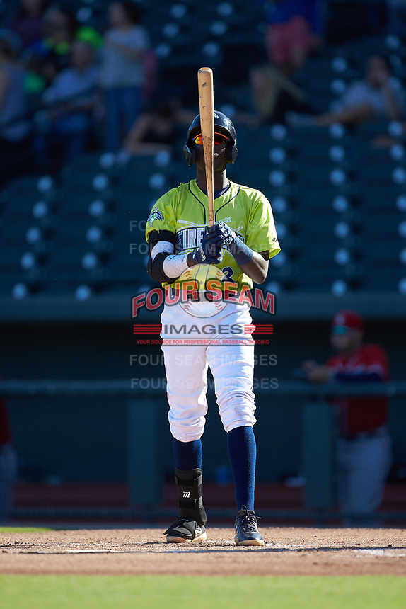 Ronny Mauricio (2) of the Columbia Fireflies prepares to step up to the plate during the game against the Rome Braves at Segra Park on May 13, 2019 in Columbia, South Carolina. The Fireflies walked-off the Braves 2-1 in game one of a doubleheader. (Brian Westerholt/Four Seam Images)